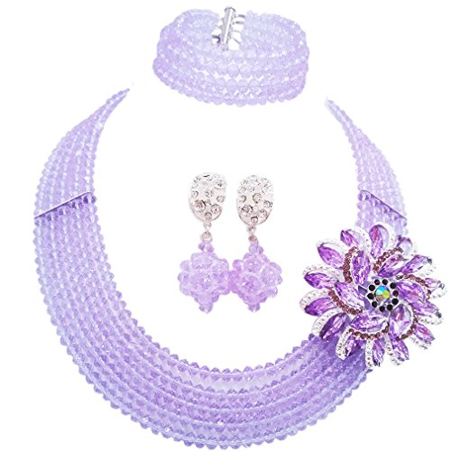 (laanc Fashion Lady Jewellery 5 Rows Multicolor Crystal Nigerian Bridel Wedding African Bead Jewelry Sets (Lilac))