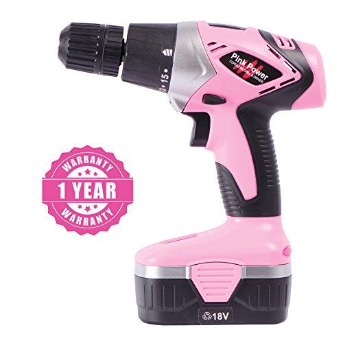 Pink 18V Electric Driver for Women - Case, Volt Drill, 2 Batteries