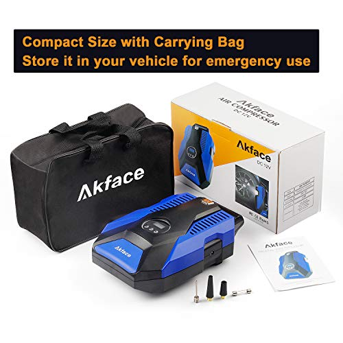 Akface 12V DC Portable Air Compressor Pump, Digital Tire Inflator Auto Tire Pump with Emergency Led Lighting and Long Cable for Car - Bicycle - Motorcycle - Basketball and Other by Akface (Image #6)