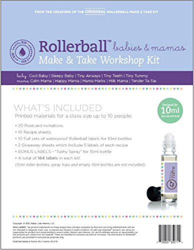 Mommy To Be Milk Bath - Roller Ball Babies & Mamas Essential Oil Make And Take Workshop Kit - Includes Labels, Recipes, Postcards & Tip Sheet For Up To 10 People - Everything You Need To Host A DIY How To Class
