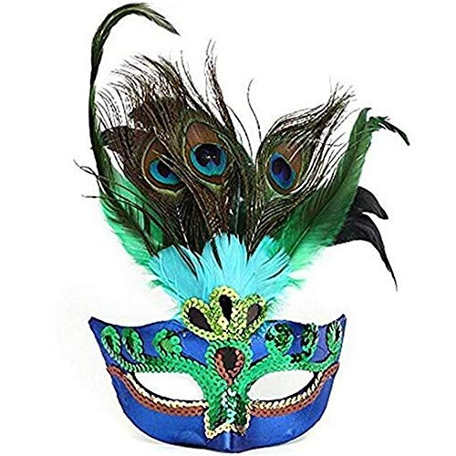 - Sweenaly Women Peacock Feathers Mask Venetian Masquerade Mask Classic Masquerade Half Face Mask for Mardi Gras,Halloween