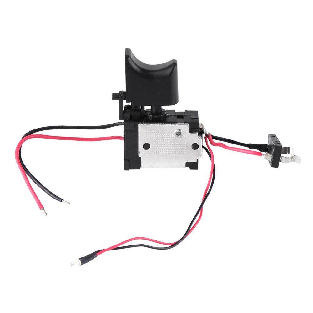 Akozon Interruptor de taladro elé ctrico, 7.2V-24V Baterí a de litio Taladro inalá mbrico Control de velocidad Interruptor de disparo con luz pequeñ a