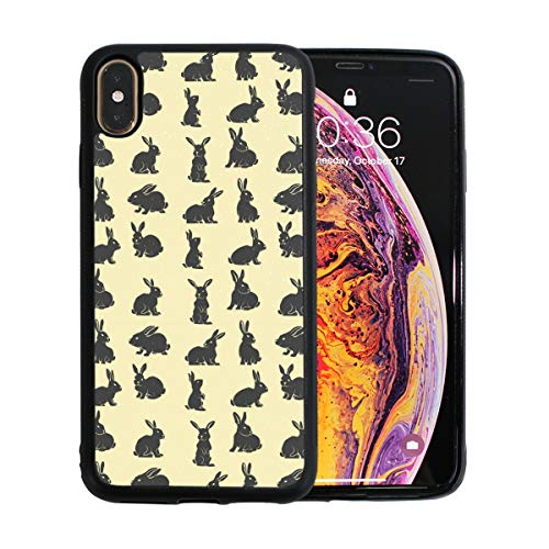 Black Bunny Rabbits Design Element Yellow Case for iPhone Xs 6.5-Inch Max Soft TPU Thin Cover Shock-Absorption Bumper Cover ()