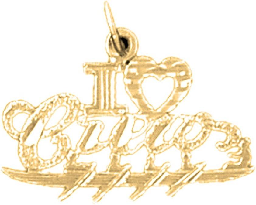 Jewels Obsession I Love Crew Charm Pendant 14K White Gold I Love Crew Pendant 17 mm
