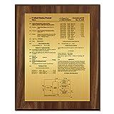 Patent Plaque - Value Chestnut Wood Award 8'' x 10''
