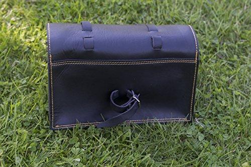 Große Fahrrad Tasche Sattel/Lenker/Rahmen Tasche in schwarz Leder Classic Tasche gelber Naht