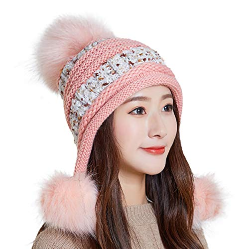 (HUAMULAN Women Fleece Skull Beanie Hat Winter Ski Peruvian Ponytail Ear Flaps Caps Pompoms)