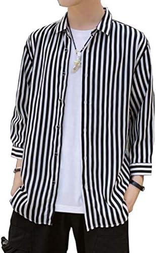 メンズ 半袖シャツ ストライプ リゾート ゆったり 大きいサイズ スタイリッシュ ワイシャツ 七分袖 開襟シャツ カジュアル