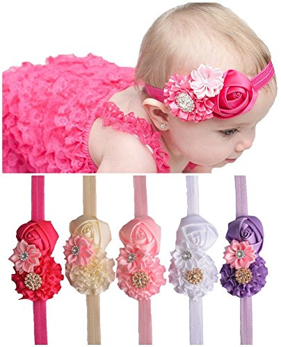 Qandsweet Baby Girl Headbands with Zircon Crystal Hair Bows (5 Pack) (Baby Costumes Girl)