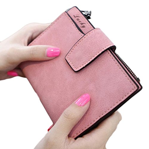 Price comparison product image LUNIWEI Women Eco Leather Frosted Solid Zipper Purse Handbag Card Holder Insert-Organizer Wallet