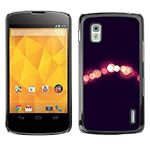 TaiTech/Duro Carcasa Funda – City Black Peach Blurry – LG Google Nexus 4 E960