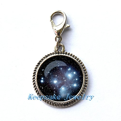 Cabochon Cluster Ring - Pleiades star cluster Zipper Pull ,Perfect for Necklaces, Bracelets , keychain and earrings Charm Pleiades star cluster handmade Jewelry-nu200