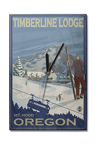 Lantern Press Mt Hood, Oregon - Timberline Lodge (10x15 Wood Wall Clock, Decor Ready to ()