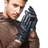 Nappaglo Men's Genuine Touchscreen Nappa Leather Gloves Driving Winter Warm Mittens (XL (Palm Girth:9''-9.5''), Dark Navy Blue (Non-Touchscreen))