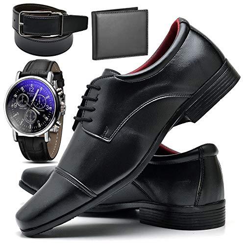 Kit Sapato Social Com Relógio Cinto Carteira Verniz Com Cadarço ZARU R807DB Tamanho:45;cor:Preto;gênero:Masculino