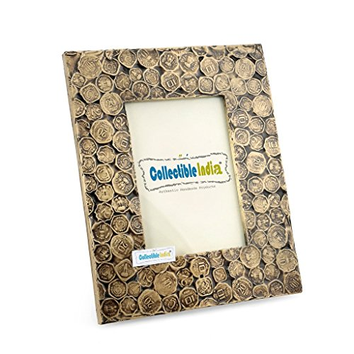 Coin Studded (CraftVatika Antique Coin Studded Table Photo Frame 10.5 x 8.5 Vintage Style Unique Home Decorative Frame)