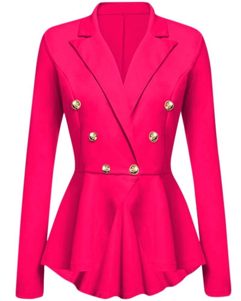 NAWONGSKY Women's Ruffle Peplum One Button Crop Frill Casual Blazer, Hot Pink, Tag XL = US (8-10)