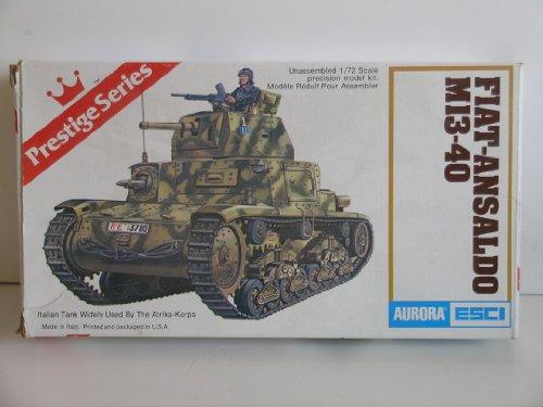 """Aurora/Esci Prestige Series """"Italian WW II Fiat-Ansaldo M13-40 Tank"""" Plastic Model Kit"""