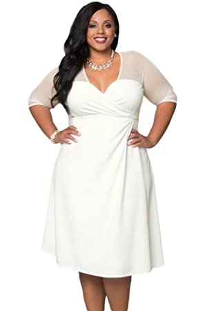 Ladies Plus Size White Fit & Flare Dress club wear Office dress ...