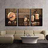 wall26 - 3 Piece Canvas Wall Art - Concept Gaming Dart with Wine Cork Figures - Modern Home Decor Stretched and Framed Ready to Hang - 16''x24''x3 Panels