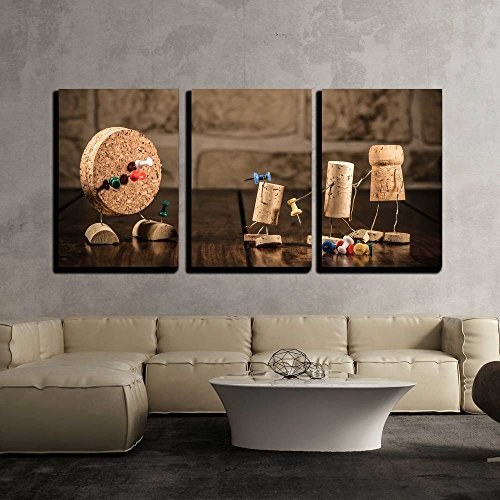 wall26 - 3 Piece Canvas Wall Art - Concept Gaming Dart with Wine Cork Figures - Modern Home Decor Stretched and Framed Ready to Hang - 24''x36''x3 Panels by wall26