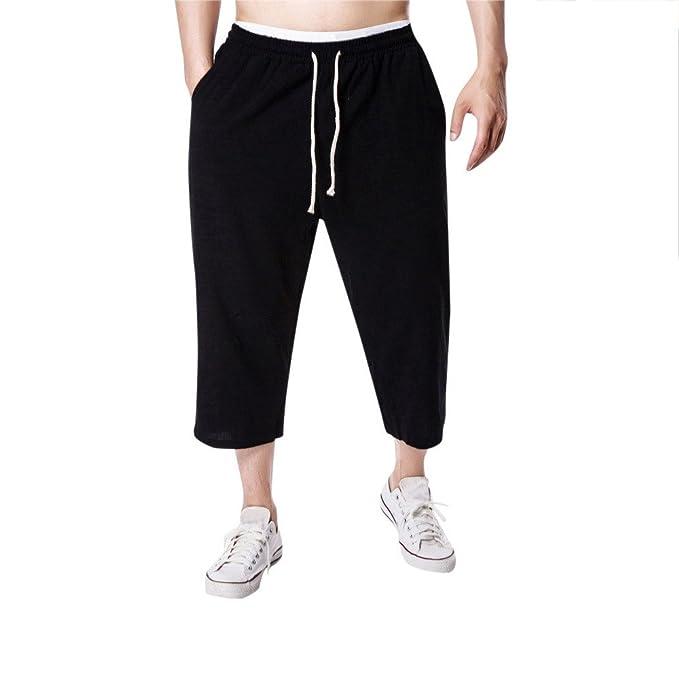Pantalones De Lino para Hombre,ZARLLE Hombres Jogging Fitness Lino Casual Loose Relaxatio Cordon Pure