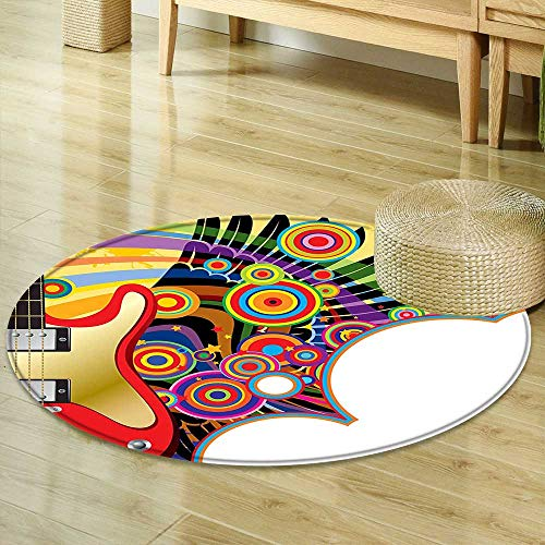 Round Area Rug Music Electric Guitar with Colorful Spirals Circles Rock and Roll Pop Rhythm Graphic Design Multicolor Indoor/Outdoor Round Area Rug R-47