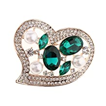MagiDeal Women Heart Shape Crystal Brooch Pins With Imitation Pearl Broach