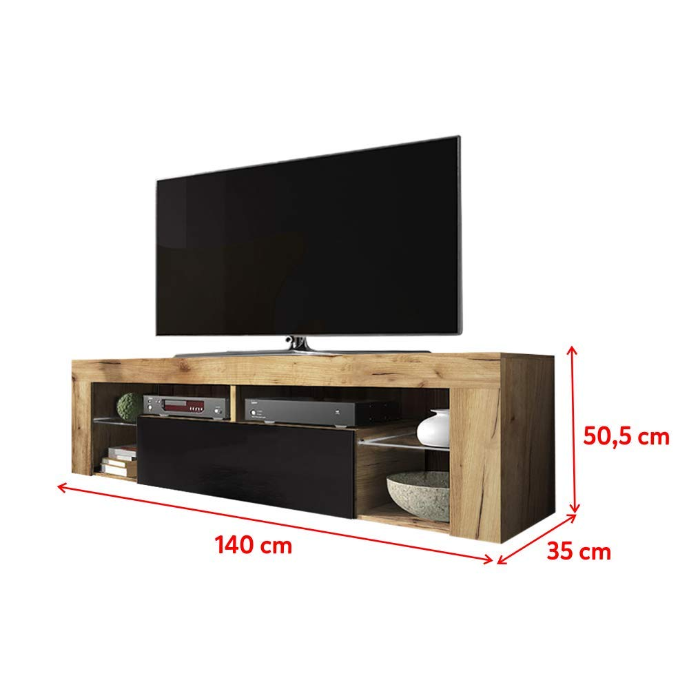 140 cm, Chene Lancaster//Blanc Brillant, avec LED Meuble TV//Banc TV Selsey Hugo