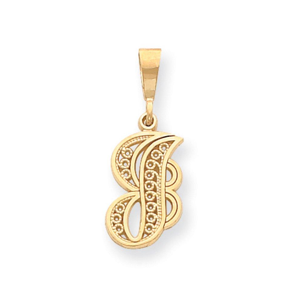 14k Yellow Gold, Maci Collection, LG Filigree Script Initial J Pendant