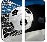 Luxlady iPhone 7 Plus Flip Fabric Wallet Case IMAGE ID: 34479473 Estonia flag and soccer ball football in goal net