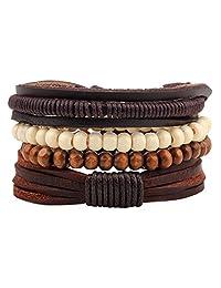 MJARTORIA PU Leather Hemp Cords Wooden Beaded Multi Strands Adjustable Wrap Bracelets Set of 4