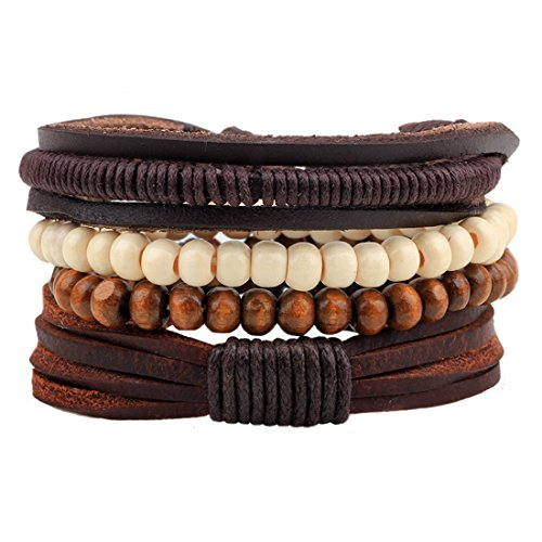 MJARTORIA PU Leather Hemp Cords Wooden Beaded Multi Strands Adjustable Wrap Bracelets Set of 4 (Brown)