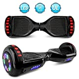 """NHT 6.5"""" Matte Classic Style Hoverboard Self Balancing Scooter w/LED Lights Silver Wheels (Black (No Bluetooth))"""