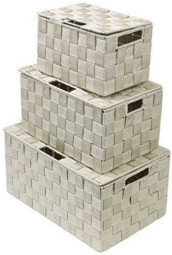 Sorbus Storage Box Woven Basket Bin Container Tote Cube Organizer Set Stackable Storage Basket Woven Strap Shelf Organizer Built-In Carry Handles (Lid Woven Basket Set - 3 Piece, Beige)