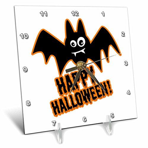 3dRose Russ Billington Halloween Designs - Happy Halloween- Funny Bat Design in Black White and Orange - 6x6 Desk Clock (dc_262149_1) -