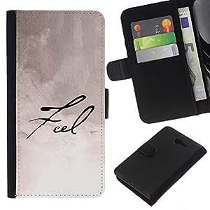 KingStore / Leather Etui en cuir / Sony Xperia M2 / Siente la caligrafía manuscrita Papel Nota Tinta
