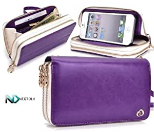 Cerhinu Apple iPhone 5 Runway Clutch/Purse by KroO [Purple] Smartphone Case/Wallet with Attachable Wristlet and a Complimentary...