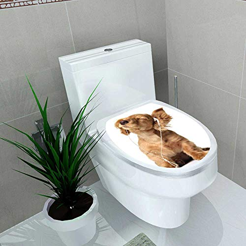 - Toilet Sticker Young Puppy Listening to Music on Headphones Home Decor Applique Papers W15 x L17