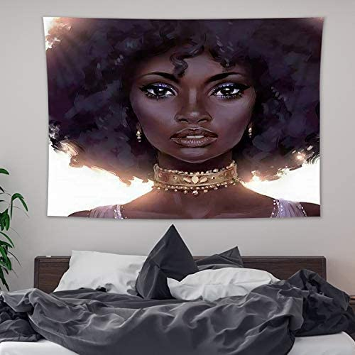 HVEST African Black Girls Tapestry Wall Hanging American Woman Beauty with Black Hair Wall Tapestries Hippie Backdrop for Bedroom Living Room Dorm Wall Decor Dinning,92.5Wx70.9H inches