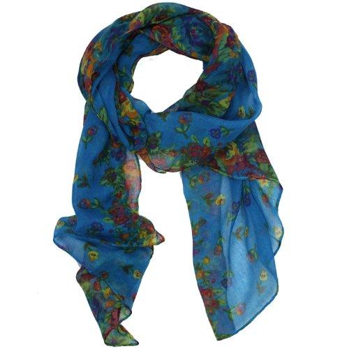 eFuture(TM) Light Blue Fashion Soft Paris Yarn With Flower Pattern Long Muffler Shawl Scarf Wraps +eFuture's nice Keyring