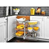 Rev-A-Shelf 5PSP3-18SC 5PSP Series 32.25'' Wide Three Tier Blind Corner Pull Out, Chrome