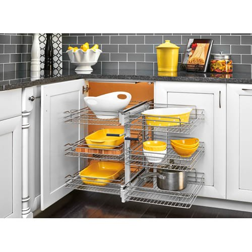 Rev-A-Shelf 5PSP3-18SC 5PSP Series 32.25'' Wide Three Tier Blind Corner Pull Out, Chrome by Rev-A-Shelf