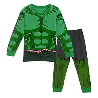 Sidney Boys Summer Hulk Pajamas Sets Cotton Green (4t, Green)