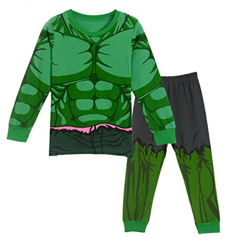 Sidney Boys Summer Hulk Pajamas Sets Cotton Green (4t, Green) -