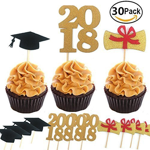 Graduate Cupcake Toppers 30pcs/set, KOOTIPS Graduation Party Supplies Dr. Hat Mini Birthday Cake Snack Decorations Picks Suppliers Party Accessories for Graduation Party