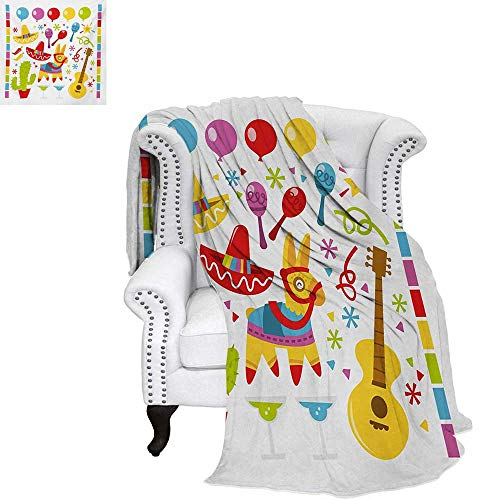warmfamily Fiesta Velvet Plush Throw Blanket Mexican Party Pattern Cactus Sombrero Musical Items and a Pinata Ethnic Inspirations Throw Blanket 60