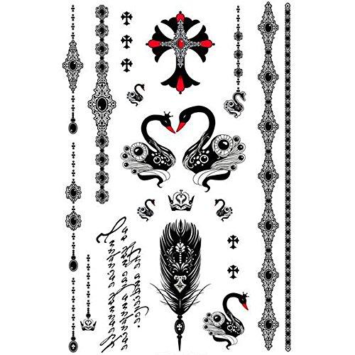 (Yeeech Temporary Tattoos Sticker Watch Swan Cross Bracelet Earring Sexy Products for Women)
