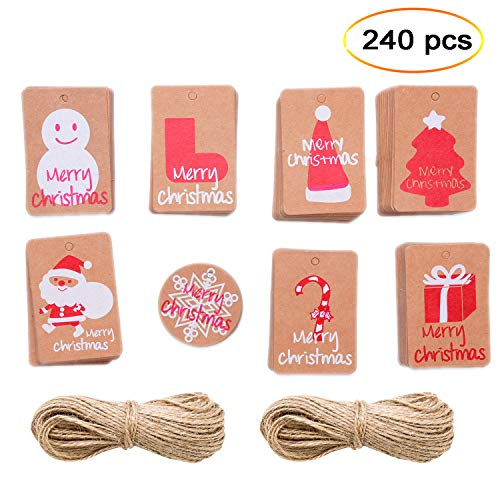 eborder 240 Pieces Christmas Gift Tags Brown Kraft Paper Name Tags Hanging Labels with with 98.4 feet Twines for Party Supply, 8 Designs