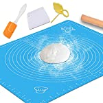 "Silicone Baking Mat with Measurements – Heat Resistant, BPA Free, Non-Stick Pastry Mat for Rolling Dough – Easy to Clean… 9 MAKES BAKING EASY AND FUN: Make your time in the kitchen more productive and fun with our pastry mat. It is amazingly flexible and stick resistant, you will not even need to use grease to get your baked dishes off it. Just what you need to bake like a pro. VERSATILILE USES: Our pastry mats can be used as a countertop protectors,table mats, or dinner mats. Ideal for kneading,baking,cooking,dough rolling,shaping bread rolls. They can also be used to prepare pizza,pastas, pie crusts, fondants and so on. KEEPS YOUR WORKTOP GOOD AS NEW: Baking is almost always a messy business,but not anymore. Aurora Gadgets silicone baking mat gives you a large 15.5""x 19.6""surface to do all your kneading,rolling,and shaping, keeping your worktop clean and good as new"